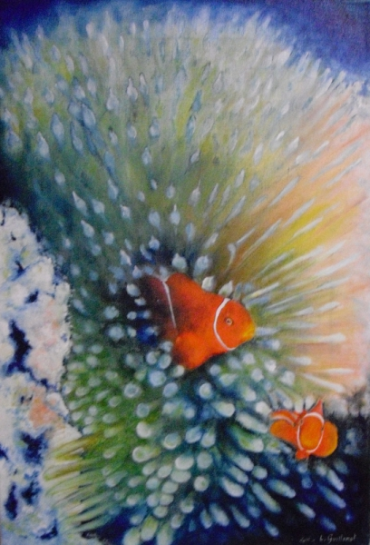 tableau peinture marine mer poisson bretagne poisson clown. Black Bedroom Furniture Sets. Home Design Ideas