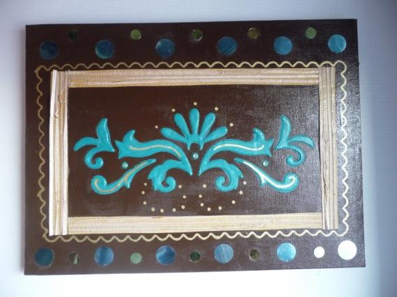 tableau peinture marron chocolat turquoise dor poussi re d 39 or. Black Bedroom Furniture Sets. Home Design Ideas