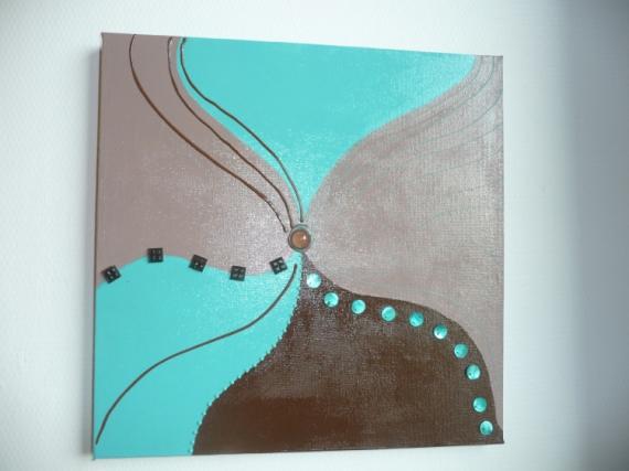 Tableau peinture marron chocolat turquoise volume menthe - Peinture marron chocolat ...
