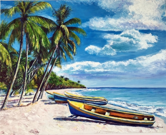 tableau peinture martinique mer cocotiers barques plage de martinique. Black Bedroom Furniture Sets. Home Design Ideas