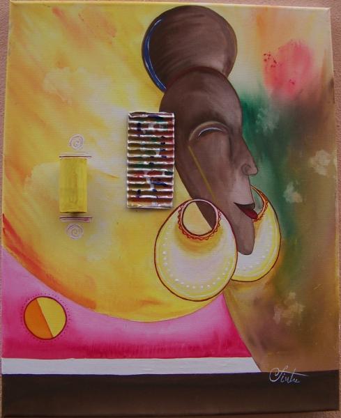 masque africain tableau peinture