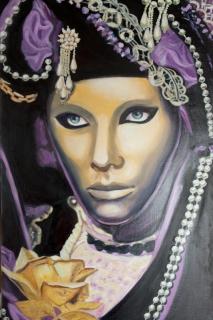Tableau peinture masque carnaval venise italie belle f e gore - Masque a peinture ...