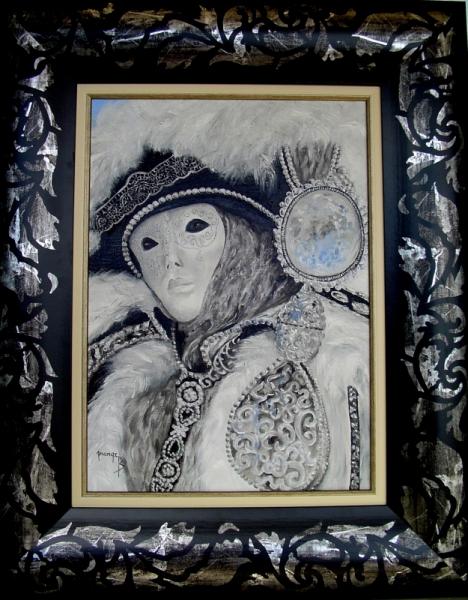 Tableau peinture masque venise masques venitiens venise masque d 39 argent - Masque a peinture ...