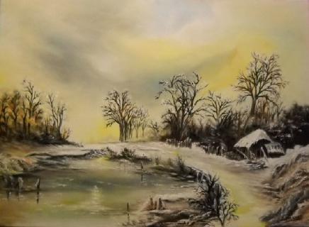 tableau peinture menard hiver paysage peinture hiver glacial. Black Bedroom Furniture Sets. Home Design Ideas
