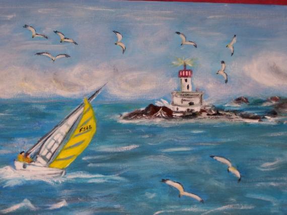 tableau peinture mer bateau phare sortie en mer. Black Bedroom Furniture Sets. Home Design Ideas