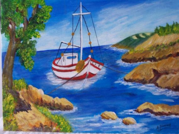 tableau peinture mer bateau rochers les calanques. Black Bedroom Furniture Sets. Home Design Ideas