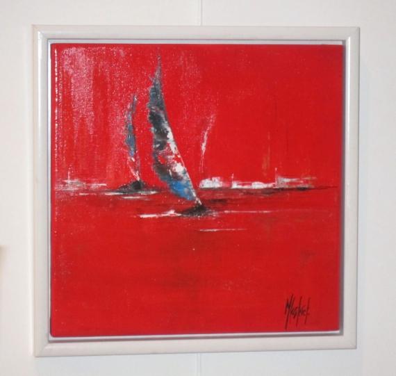 Tableau peinture mer bateaux rouge voiles en mer - Tableau mer moderne ...