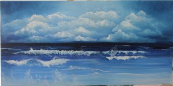 tableau peinture mer bleu vague nuage bleu. Black Bedroom Furniture Sets. Home Design Ideas
