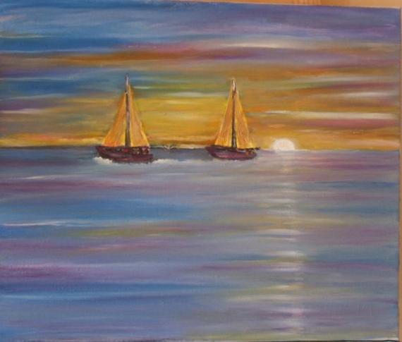 tableau peinture mer coucher de soleil voiliers ocan coucher de soleil sur la mer. Black Bedroom Furniture Sets. Home Design Ideas