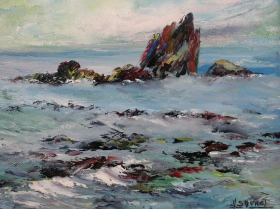 tableau peinture mer marine ocean rocher