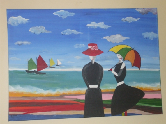 Tableau peinture mer personnage parapluie femmes sur la - Tableaux mer et plage ...