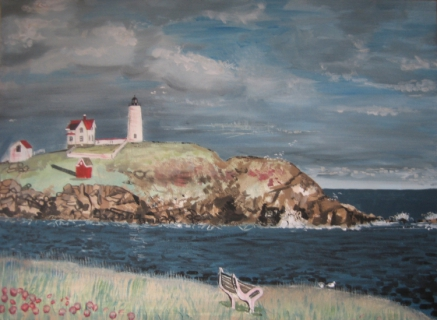 tableau peinture mer phare acrylique lighthouse painting paysage phare. Black Bedroom Furniture Sets. Home Design Ideas