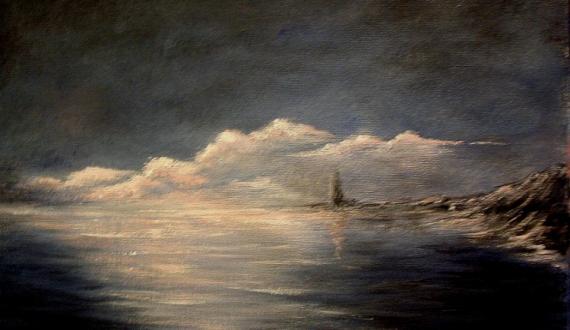 tableau peinture mer phare coucher de soleil bretagne soleil couchant sur la mer. Black Bedroom Furniture Sets. Home Design Ideas