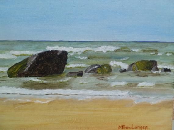 Tableau peinture mer rochers rochers oye plage 62 - Tableaux mer et plage ...