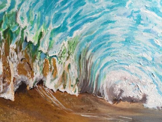 tableau peinture mer vague plage sur la plage et sous la vague. Black Bedroom Furniture Sets. Home Design Ideas
