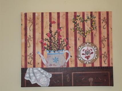 Tableau peinture meuble fleurs dentelle assiette le buffet for Peinture acrylique meuble