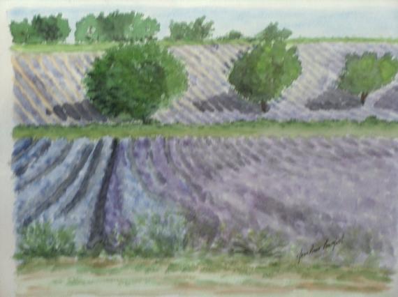 Tableau peinture midi provence lavande drome champs de - Peinture couleur lavande ...