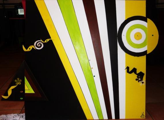 tableau peinture moderne geometrique rond triangle abstrait geometrics colors - Tableaux Abstraits Colors