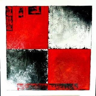 Tableau peinture moderne rouge noir blanc rouge et noir for Tableau blanc et rouge