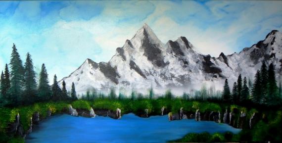tableau peinture montagne paysage neige voyage en montagne. Black Bedroom Furniture Sets. Home Design Ideas