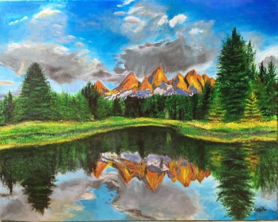 tableau peinture montagne paysage reflet lac reflet d 39 un paysage de montagne. Black Bedroom Furniture Sets. Home Design Ideas