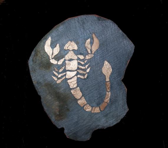 Tableau peinture mosaique ardoise decoration signe zodiac for Peinture mosaique