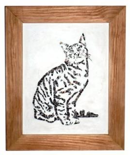 Tableau peinture mosaique chat verre artisanat le chat for Peinture mosaique