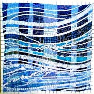 Tableau peinture mosa que cr ation contemporain brumes for Peinture mosaique