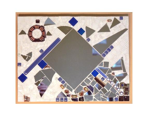 Tableau peinture mosaique verre miroir cuivre miroir for Peinture mosaique