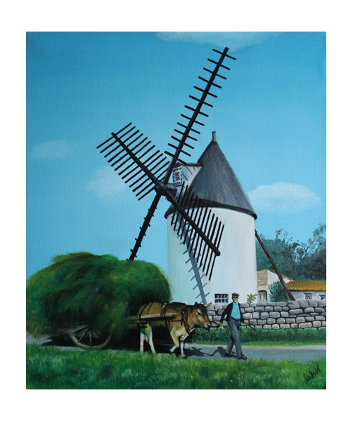 tableau peinture moulin morinand ile de r charrette le moulin du morinand. Black Bedroom Furniture Sets. Home Design Ideas