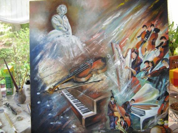 Tableau Moderne Thème Musique Peint à La Main Pictures to pin on ...