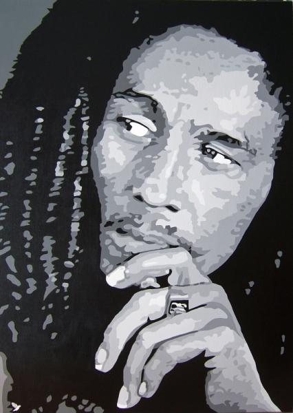 Tableau peinture musique reggae chanteur noir et blanc - Tableau peinture noir et blanc ...