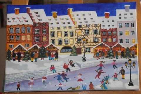 Tableau peinture naif noel patins neige march de noel - Peinture de noel ...