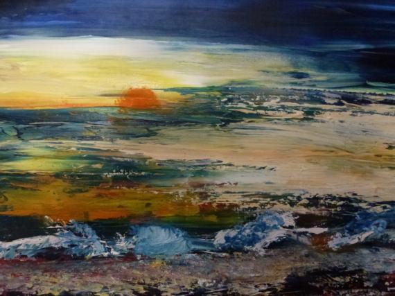 Tableau peinture namibie bord de mer orage afrique soir for Tableaux bord de mer