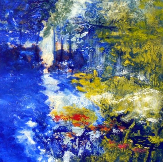 Bien connu TABLEAU PEINTURE nature arbres fleurs Loire - secrèt de ruisseau SN04