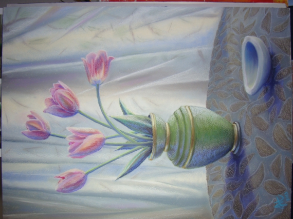 Tableau peinture nuture morte avec les tulipes roses et for Peinture rose pastel