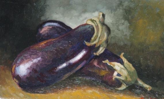 Tableau peinture aubergines 1 for Peinture aubergine