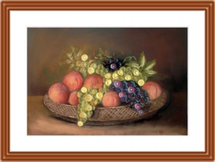 tableau peinture nature morte fruits corbeille raisins fruits pastel la corbeille de fruits. Black Bedroom Furniture Sets. Home Design Ideas