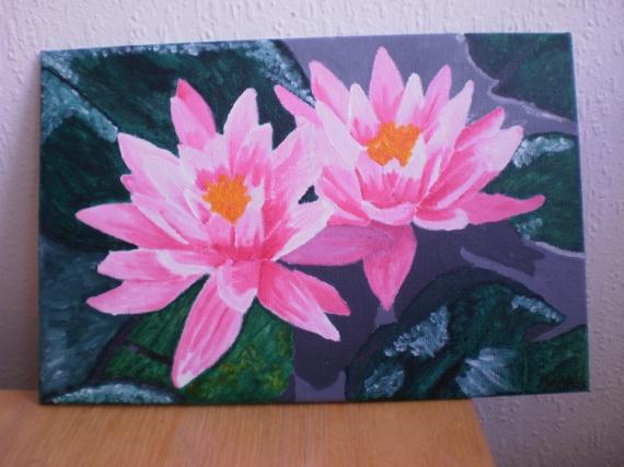 Tableau peinture nnuphars roses nnuphars for Peinture rose pastel