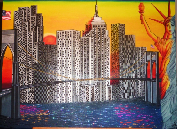 tableau peinture new york building pont de brooklyn statut de la libert usa by night. Black Bedroom Furniture Sets. Home Design Ideas