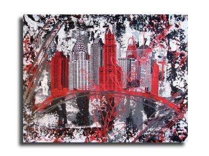 Tableau peinture new york design rouge collage tableau new york city rouge noir gris blanc - Tableau rouge noir gris moderne ...