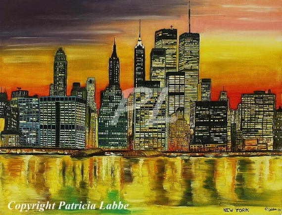 Tableau peinture new york manhattan amrique usa city of - Tableau de new york ...
