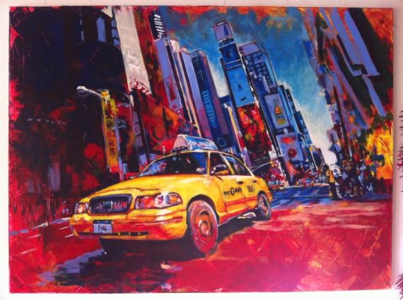 tableau new york ville times square taxi villes acrylique p
