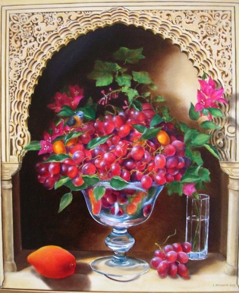 tableau peinture raisins