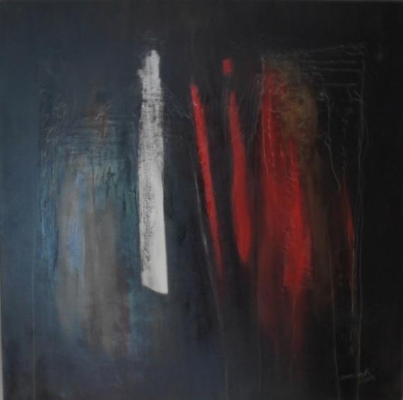 Tableau peinture noir abstrait janczak sans titre - Peinture tableau noir brico ...