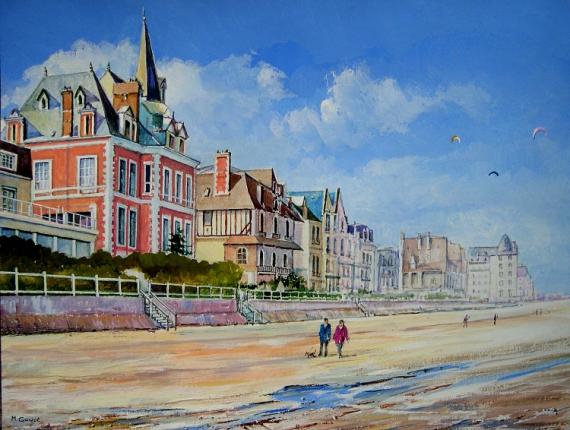Tableau peinture normandie plage villas trouville - Office du tourisme de deauville trouville ...