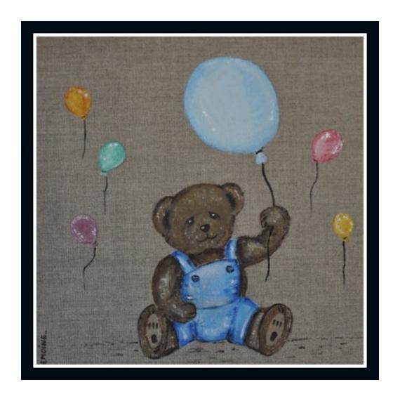 tableau peinture nounours ourson decoration enfant n 5 les ballons sur commande. Black Bedroom Furniture Sets. Home Design Ideas