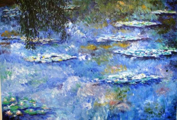 tableau peinture nymphéas bleu eau reflets - hommage à monet - Peinture A L Eau Sur Peinture A L Huile