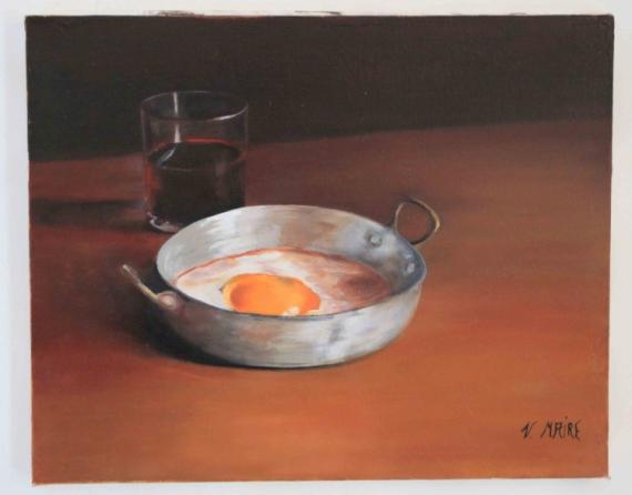 Tableau peinture oeuf vin verre cuisine repas du soir - Peinture acrylique cuisine ...