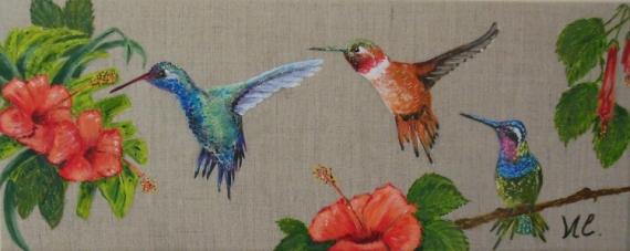 tableau peinture oiseau colibri fleur hibiscus - *colibris* (1)